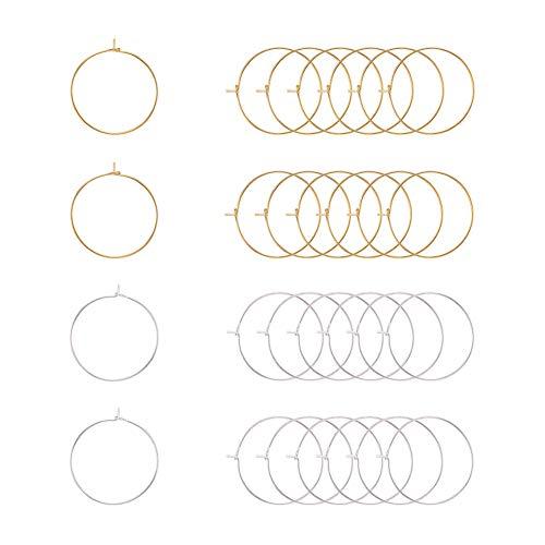 PandaHall Elite 100 piezas Oro / Plata 25mm Latón Pendientes de aro...