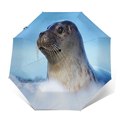 Paraguas Plegable Automático Impermeable Foca Joven, Paraguas De Viaje Compacto a Prueba...