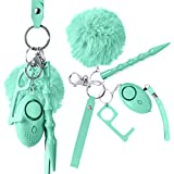 Self Defense Keychain for Women, Girls - Portable Protection Key Chain Tools - Women Safety Keychain with Alarm, Window Breaker, No Touch Door Opener, Wristlet, Pompom - Personal Defense (Tif's Blue)