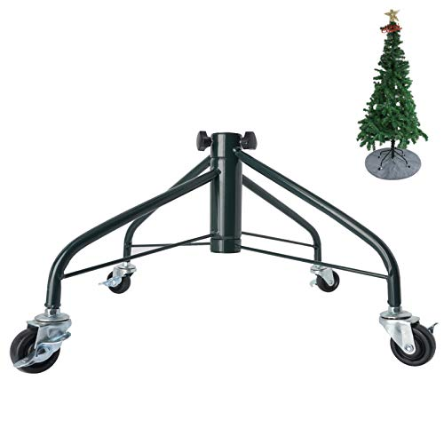 Ouvin Foldable Heavy Duty Christmas Tree Stand for 7 Foot Artificial Tree Holder with 4 Wheels (Green)