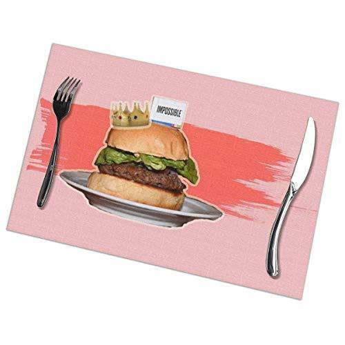 No license Impossible Whopper Healthy Beef Burger Tischsets für Esstisch 6er-Set Küchenfleckenresistent Anti-Rutsch-Waschtisch Hitzebeständige rutschfeste Tischsets Dekoration