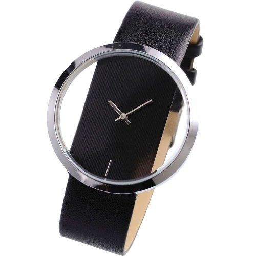 Armbanduhr - SODIAL(R) Quarz-Armbanduhr Elegantes Sport transparentes Zifferblatt Lederarmband schwarz Unisex WAA024