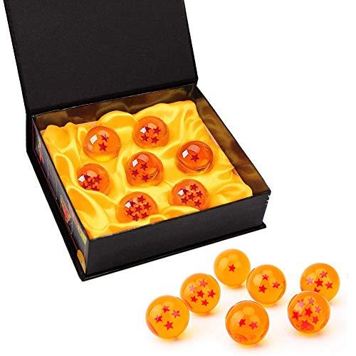 7 boules de dragon Dragon Ball Dragonball 1 à 7 étoiles avec boîte cadeau, boule de cristal transparent, décoration K9 - diamètre 4,3 cm