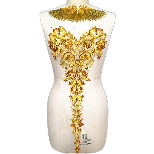 Embroidered Floral Gold Color Rhinestone Sequins Lace Applique Trim Patches Great for DIY Neckline Bodice Wedding Bridal Prom Dress