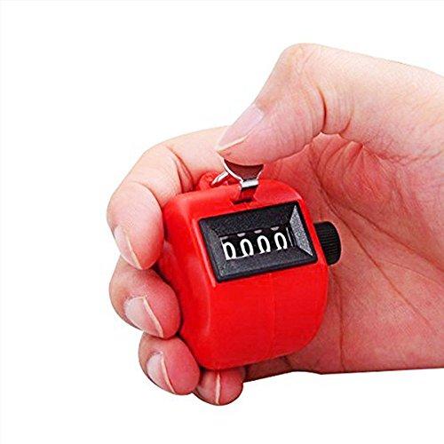 Ndier Contador Manual,Contadores de Mano Clicker de mecánico Utilizado como cronómetro Deportivo (Rojo)