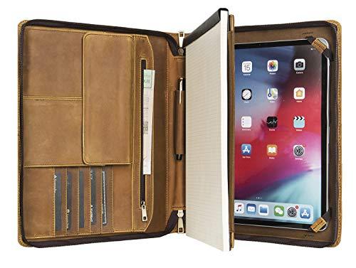 iPad Pro 11/10.5/iPad 7/Air 3用の手作りのレザータブレットポートフォリオ、引き込み式ハンドル付きビジネスブリーフケース、右利きまたは左利きに最適(ブラウン)