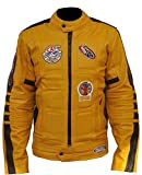 Prime-Fashion Mens Kill Bill Yellow Motorcycle Jacket, Faux Leather, Medium