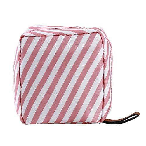 Clyine Femmes Voyage Sac Cosmétique Portable Simple Grande Capacité Sac De Rangement Cosmétique Girly Heart Casual Wash Bag,Rayures Roses