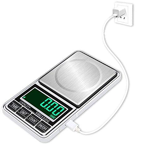 WOWOHE Digital Food Scales Gram Kitchen Scale Mini Portable Pocket Jewelry Coffee Week Scale 7 Units with USB Cable High Accuracy Capacity 500g Accuracy 0.08g (Black)