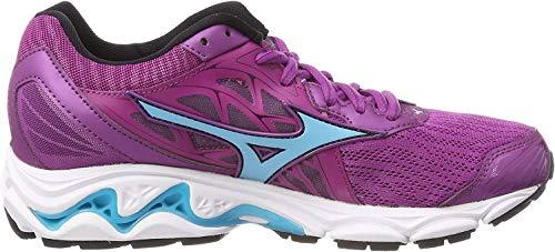 Mizuno Wave Inspire 14 Wos, Zapatillas de Running Mujer, Multicolor (Clover/Blueatoll/Safetyyellow 32), 36 EU