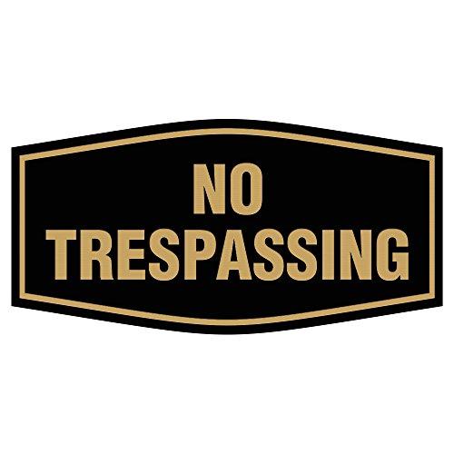 Fancy No Trespassing Sign (Black/Gold) - Small
