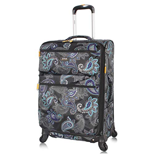 Lucas Designer Luggage Carry On Collection - Expandable 20 Inch Suitcase - Durable Small Ultra Lightweight Bag with 4-Rolling Spinner Wheels (Diva)