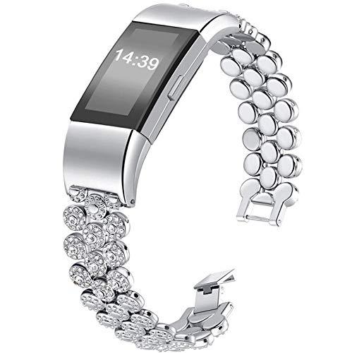 Gocybei Ersatzarmband für Fitbit Charge 2 Fitnesstracker, hochwertiges Armbandzubehör, ohne Tracker, A0 B02 -Silver