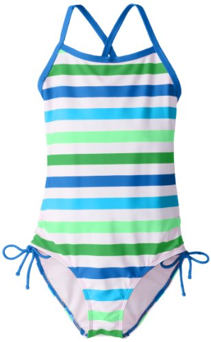 Kanu Surf Girls' Big Bali Beach Sport Banded 1 Piece Swimsuit, Sassy Blue Stripe, 10