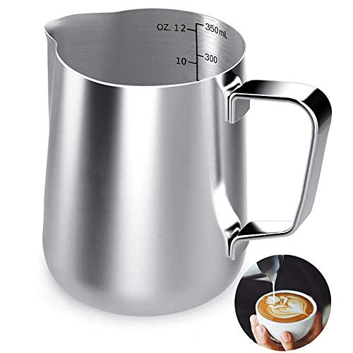 Milk Frothing Pitcher, 12 oz Milk Frother cup...