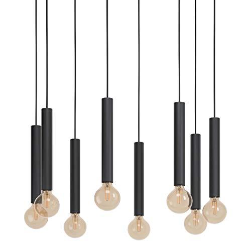 EGLO Pendelleuchte Cortenova, 8 flammige Hängelampe Industrial, Modern, Hängeleuchte aus Stahl in Schwarz, Esstischlampe, Wohnzimmerlampe hängend mit E27 Fassung