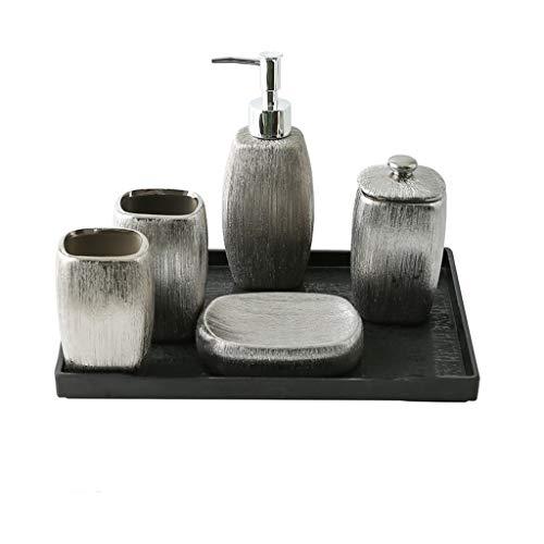6pcs accesorios de baño Conjunto de cerámica Revestimiento del final de plata del baño Conjunto dispensador de jabón / cepillo de dientes titular / vaso / Jabonera / Bandeja tocador del baño Productos