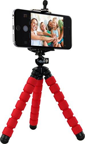 Rollei Selfie Mini Stativ - Flexibles Stativ mit rutschfesten Gummifüßen, inkl. Smartphone-Adapter und Kugelkopf, biegbar, wickelbar, faltbar - Rot