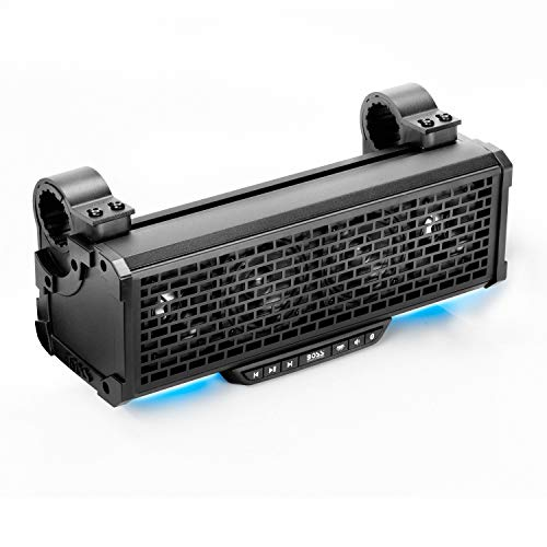 BOSS Audio Systems BRT14A ATV UTV Sound Bar System - 14 Inches Wide, IPX5 Rated Weatherproof, Bluetooth, Amplified, 3 inch Speakers, 1 Inch Horn Loaded Tweeters, Easy Installation for 12 Volt Vehicles