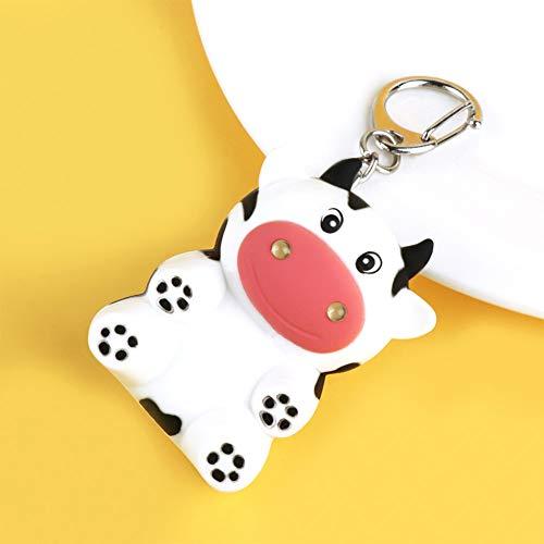 N/ A Creativo Little Cow Led Linterna Llavero Animal