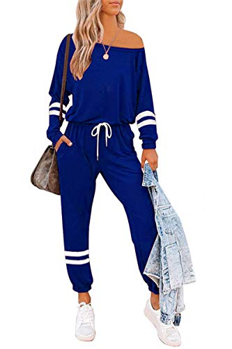 AUTOMET Womens Loungewear Sets 2 Piece Sweatsuit Lounge Sets with Long Sleeve Pullover Tops And Long Pants Outfits Navy Blue