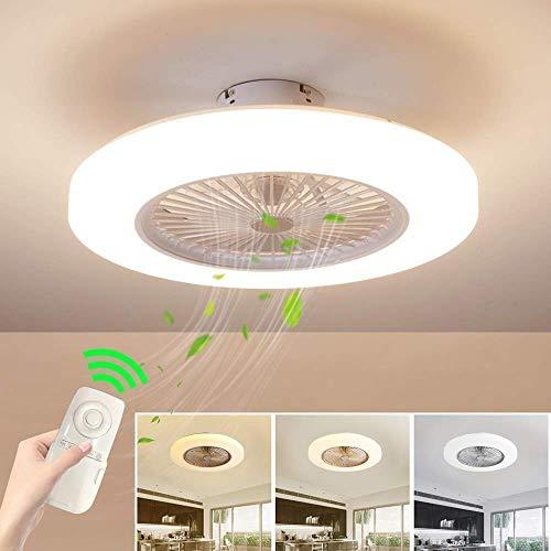 Ventilatore a soffitto con illuminazione, ventilatore a soffitto a LED, velocità del vento regolabile, funzione di regolazione della luminosità con telecomando, plafoniera moderna a LED da 36 W.