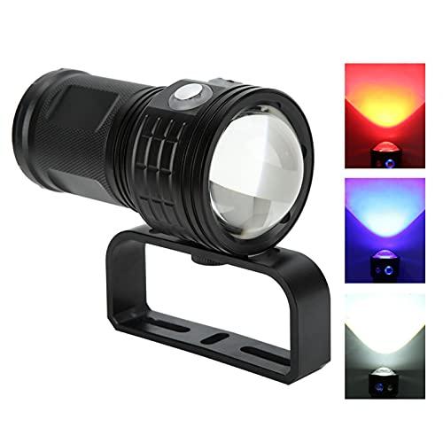 Linterna-QX3 Luz de buceo-Subacuática 80M Fotografía Luz de buceo (negro)