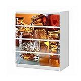 Set Möbelaufkleber für Ikea Kommode MALM 4 Fächer/Schubladen Whisky Alkohol Glas Flasche Fest Aufkleber Möbelfolie sticker (Ohne Möbel) Folie 25B1028