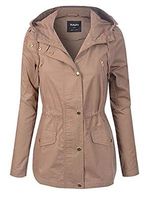 MixMatchy Women's Casual Safari Military Anorak Utility Hoodie Zip Up Jacket Blush L