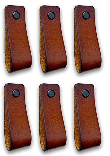 Brute Strength - Tirador de cuero - Coñac - 6 piezas - 16,5 x 2,5 cm - incluye tres colores de tornillos por manija de cuero para los gabinetes de cocina - baño - gabinetes