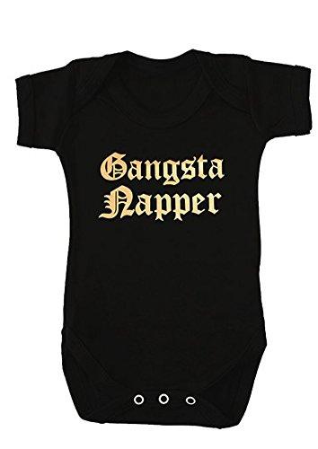 Funky Baby Grow Gangsta, pañal para niños o niñas, 1 chaleco de Hip Hop Rap para bebé, negro y dorado, ideal como regalo de baby shower (0-3 meses)