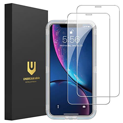 """UNBREAKcable [2-Pezzi Pellicola Vetro Temperato Compatibile con iPhone XR/11 - HD 9H, Vetro Temprato Premium Doppia Difesa Serie per iPhone XR/11 6.1"""" - [Anti-graffio, Anti-Impronta, Senza Bolle]"""