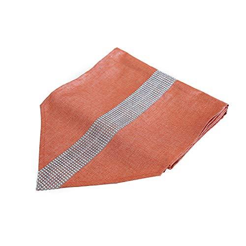 cyxb Einfache TV-Schrankleiste im europäischen Stil Streifen Couchtisch Stoff Esstisch Bett Flagge mit Diamant Pailletten Tisch Flagge-18. Orange_32 * 180cm