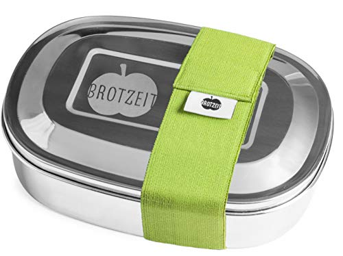 Brotzeit MAGIC Brotdose aus Edelstahl mit herausnehmbarem Abtrennbereich (BPA frei, spülmaschinengeeignet) - auch für Kinder!