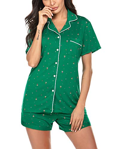 Ekouaer Christmas Pajamas Set Short Sleeve Womens Christmas Pajama Short Set PJs