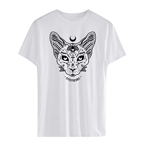 Damen Freizeit T-Shirt Kurzarm Gothic Katze Drucken Kurzarmshirt Oberteil Tops...