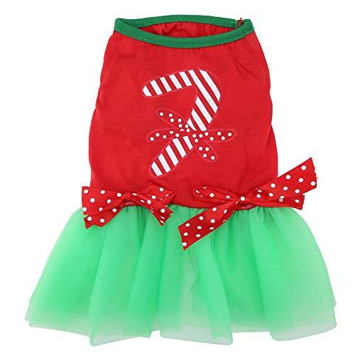 Pet jurk, kerstfeest cadeau rode mouwloze kant groene rok kostuum jurken jurk voor puppy hondje (xl)
