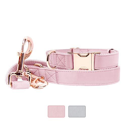 Soft Leather Dog Collar and Leash (6.6') Set - Stylish Rose Gold Heavy Duty Metal Buckle, 3 Adjustable Lengths Leash for Small Medium Large Dogs - Comfortable & Easy to Clean (Pink, M(13.8'-19.7'))