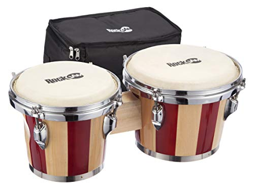 """RockJam 7"""" and 8"""" Bongo Drum Set with Padded Bag and Tuning Key, Red and Natural Stripe"""