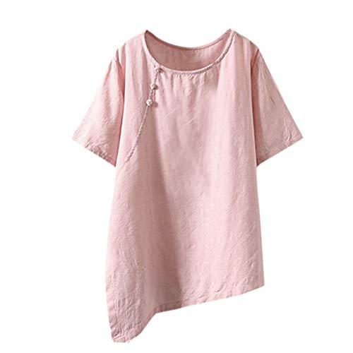 TUDUZ Blusas Mujer Manga Larga Verano Camiseta Casual Loose Linen Plus Size Botón Irregular Tanic Tops (Rosado, XXXXL)