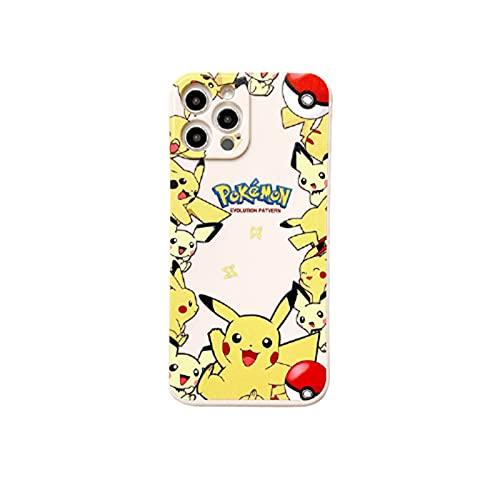 Anime Pikachu 12 / 12PRO / 12PROMAX es Adecuado para el iPhone 11 / 11PRO / 11PROMAX Mobile Shell Tide Marca, Jenny Turtle Caja de protección de Rendimiento resisten Pikachu- 12Pro