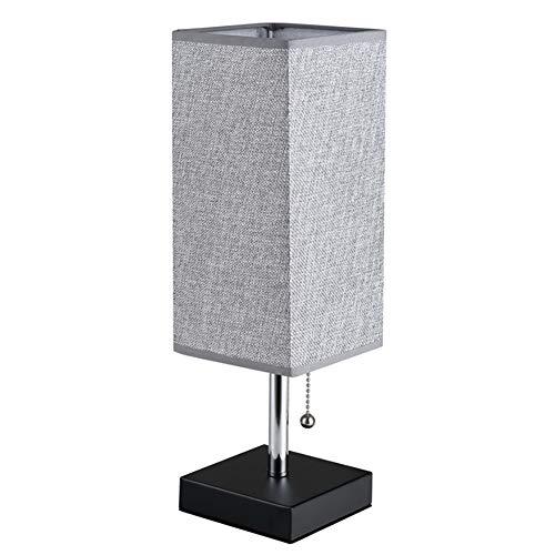 Sencillez E27 Lámpara De Mesa,Cuadrado Pantalla De Tela Interruptor De Cadena De Tracción Lámpara Escritorio,Acabado Negro Espesor Metal Base Lámpara De Mesa,Bombilla Incluida-Gris 4.9