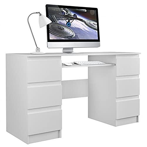 ADGO Mesa de ordenador Kuba con 6 cajones, 130x76x51cm, soporte para teclado, mesa de oficina, espacio de almacenamiento, escritorio para trabajo, oficina, despacho(envío en 2 paquetes) (color blanco)