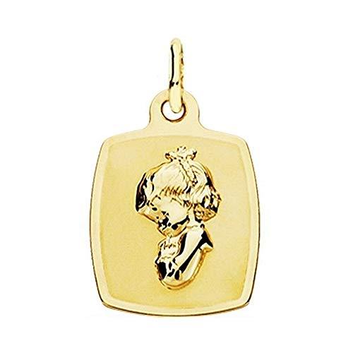 Medalla Oro 18K Virgen Niña 19mm. [Ab3780Gr] - Personalizable - Grabación Incluida En El Precio