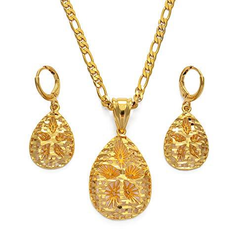 Nobrand Saudi-Arabien stellt Halskette Ohrringe Gold Farbe Afrikanische Partei Schmuck Arabische Braut Hochzeit Äthiopische Schmuck Set