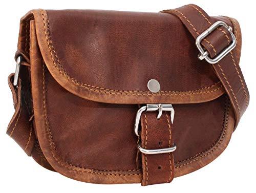 Gusti Umhängetasche Damen Leder - Mary XXS Ledertasche Handtasche Damen Vintage Braun