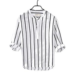 ラミーシャツ 七分袖 ヘンリーネックシャツ メンズ 夏 薄手 ストライプ柄 ラウンド裾シャツ 男性 麻 アウター インナー 重ね着 超軽量トップス 男性 吸汗通気 スリム ボタンダウン 黒 白 M-3XL