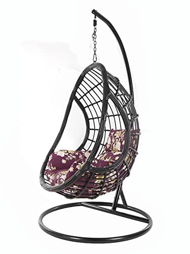 KIDEO großer Hängesessel inklusive Gestell und Kissen, Polyrattan schwarz (Kissen: Nest lila geblümt [3905 vino Tinto])