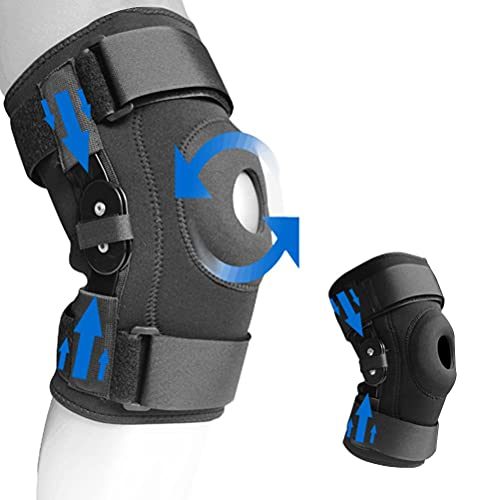 Dapuly Rodillera de compresión ajustable para rodillas, protector transpirable, con bisagra, para senderismo, correr, ciclismo