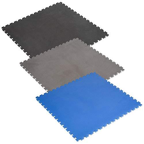 Sport-Thieme Puzzle-Bodenschutzmatte | Schutzmatte, Unterlegematte für Fitnessgeräte und Sporttraining | 100x100x1,4 cm | Formstabiler Eva-Schaum | Blau, Grau, Schwarz | 2,5 kg | Markenqualität